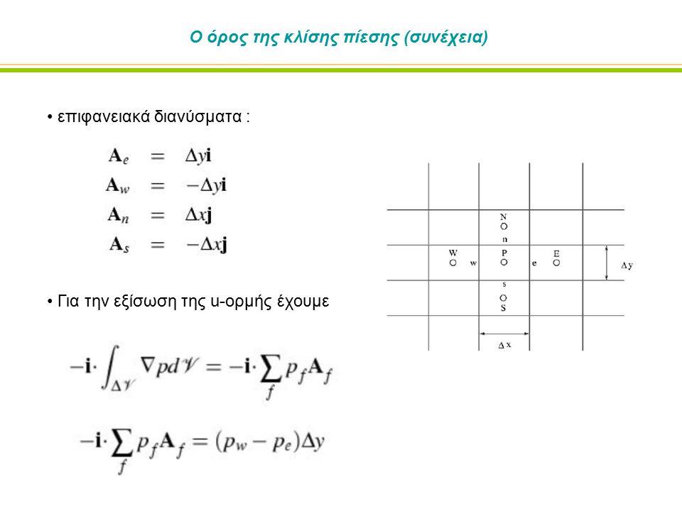 Ο όρος της κλίσης πίεσης (συνέχεια) επιφανειακά διανύσματα : Για την εξίσωση της u-ορμής έχουμε
