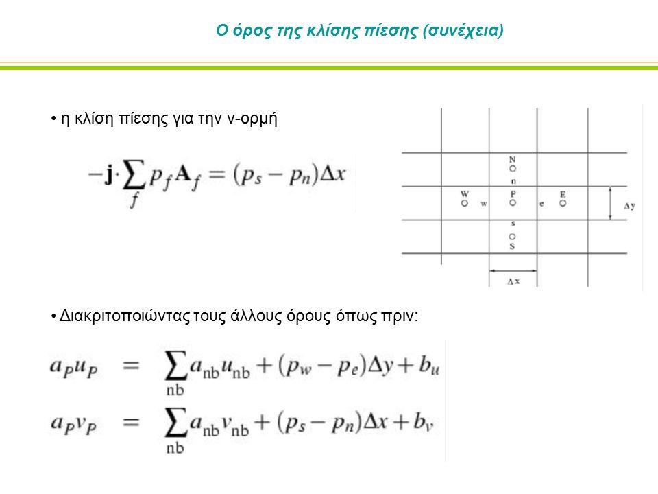 Ο όρος της κλίσης πίεσης (συνέχεια) η κλίση πίεσης για την v-ορμή Διακριτοποιώντας τους άλλους όρους όπως πριν: