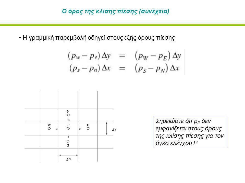 Ο όρος της κλίσης πίεσης (συνέχεια) Η γραμμική παρεμβολή οδηγεί στους εξής όρους πίεσης Σημειώστε ότι p P δεν εμφανίζεται στους όρους της κλίσης πίεση