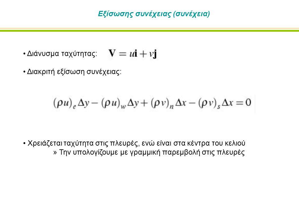 Εξίσωσης συνέχειας (συνέχεια) Διάνυσμα ταχύτητας: Διακριτή εξίσωση συνέχειας: Χρειάζεται ταχύτητα στις πλευρές, ενώ είναι στα κέντρα του κελιού » Την
