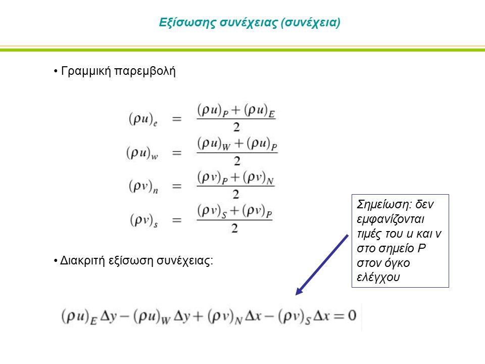 Εξίσωσης συνέχειας (συνέχεια) Γραμμική παρεμβολή Διακριτή εξίσωση συνέχειας: Σημείωση: δεν εμφανίζονται τιμές του u και v στο σημείο P στον όγκο ελέγχ