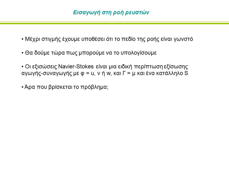 Μόνιμη δισδιάστατη εξίσωση Navier-Stokes Μπορούμε να γράψουμε την εξίσωση Navier-Stokes ως: Για Νευτωνικά ρευστά ξέρουμε ότι: