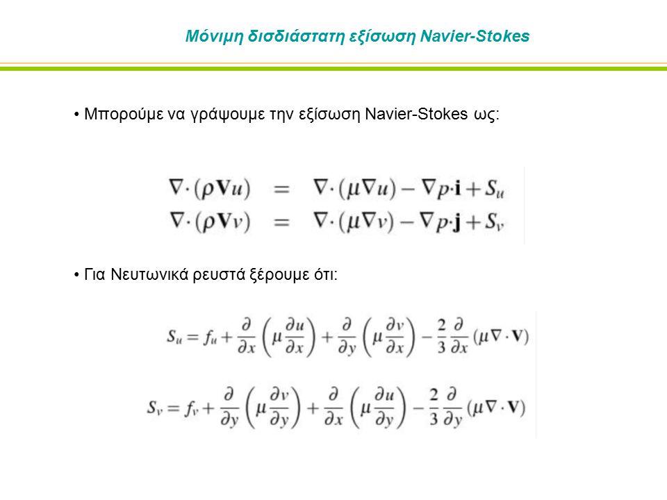 Πρόβλημα σε δομές ροής τύπου σκακιέρας (συνέχεια) Ας υποθέσουμε ότι η δομή της ροής που έχουμε ικανοποιεί την εξίσωση της συνέχειας Αυτό σημαίνει ότι οι όροι πηγής στην εξίσωση της ορμής έχουν μια δομή Η πίεση είναι μέρος της λύσης, » Μπορούμε να βρούμε ένα πεδίο πίεσης όπου ικανοποιεί ακριβώς τον όρο πηγής στην εξίσωση της ορμής » Λύση της διακριτοποιημένης εξίσωσης μπορεί να επιτευχθεί, αλλά το αποτέλεσμα δεν είναι φυσικό Στην πραγματικότητα, δεν είναι εύκολο να διαλέξουμε ακριβώς δομές με σχήμα σκακιέρας » Το αποτέλεσμα είναι λύσεις με χωρικές ανωμαλίες στην λύση της πίεσης και της ταχύτητας