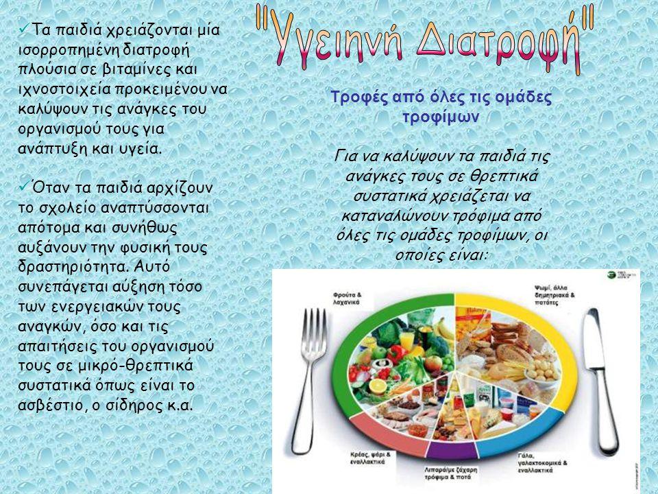 Τροφές από όλες τις ομάδες τροφίμων Για να καλύψουν τα παιδιά τις ανάγκες τους σε θρεπτικά συστατικά χρειάζεται να καταναλώνουν τρόφιμα από όλες τις ομάδες τροφίμων, οι οποίες είναι: Τα παιδιά χρειάζονται μία ισορροπημένη διατροφή πλούσια σε βιταμίνες και ιχνοστοιχεία προκειμένου να καλύψουν τις ανάγκες του οργανισμού τους για ανάπτυξη και υγεία.
