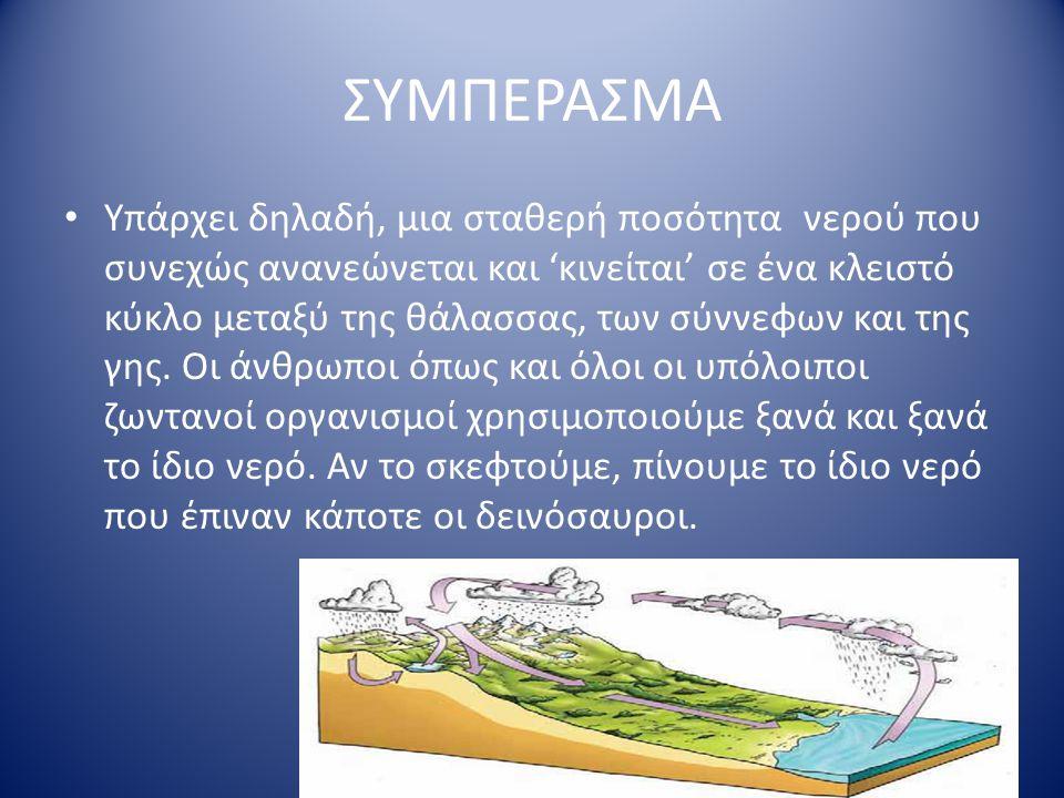 ΚΑΤΕΙΣΔΥΣΗ Το νερό που πέφτει στη στεριά κατεισδύει στη γη από τους πόρους ή από τις ρωγμές διάφορων πετρωμάτων και από τα ρήγματα της γης. Αυτά είναι