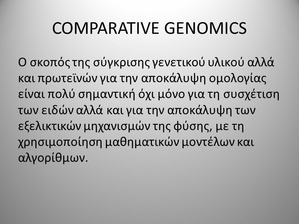 COMPARATIVE GENOMICS O σκοπός της σύγκρισης γενετικού υλικού αλλά και πρωτεϊνών για την αποκάλυψη ομολογίας είναι πολύ σημαντική όχι μόνο για τη συσχέτιση των ειδών αλλά και για την αποκάλυψη των εξελικτικών μηχανισμών της φύσης, με τη χρησιμοποίηση μαθηματικών μοντέλων και αλγορίθμων.
