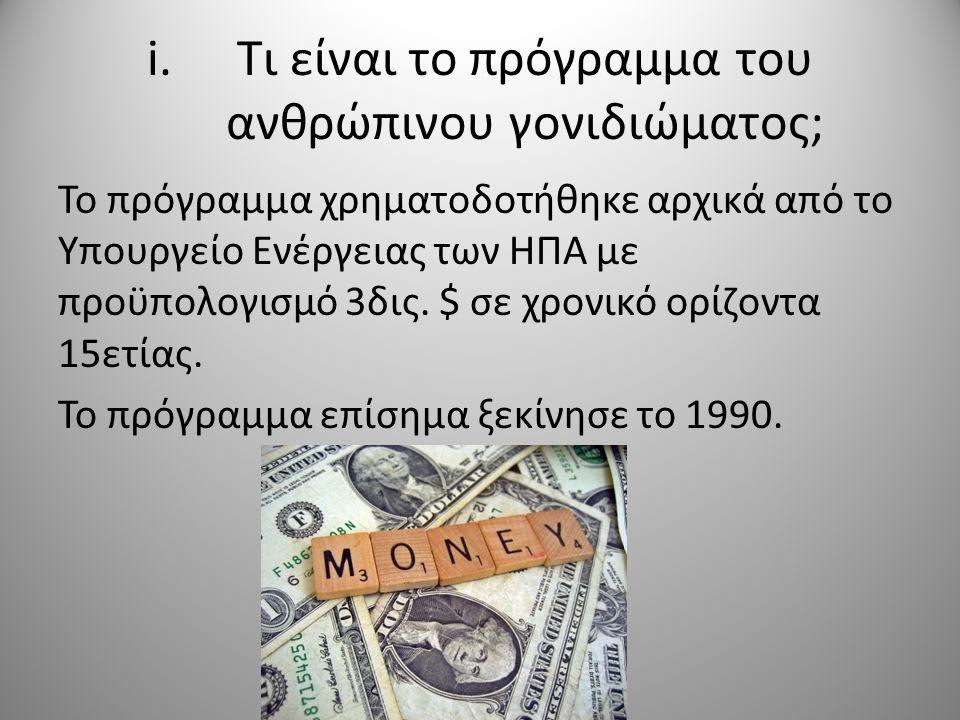 i.Τι είναι το πρόγραμμα του ανθρώπινου γονιδιώματος; Το πρόγραμμα χρηματοδοτήθηκε αρχικά από το Υπουργείο Ενέργειας των ΗΠΑ με προϋπολογισμό 3δις.