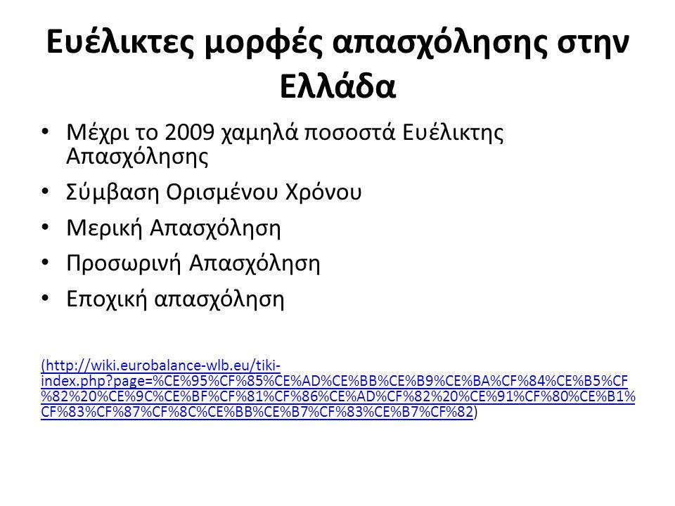 Ευέλικτες μορφές απασχόλησης στην Ελλάδα Μέχρι το 2009 χαμηλά ποσοστά Ευέλικτης Απασχόλησης Σύμβαση Ορισμένου Χρόνου Μερική Απασχόληση Προσωρινή Απασχόληση Εποχική απασχόληση (http://wiki.eurobalance-wlb.eu/tiki- index.php?page=%CE%95%CF%85%CE%AD%CE%BB%CE%B9%CE%BA%CF%84%CE%B5%CF %82%20%CE%9C%CE%BF%CF%81%CF%86%CE%AD%CF%82%20%CE%91%CF%80%CE%B1% CF%83%CF%87%CF%8C%CE%BB%CE%B7%CF%83%CE%B7%CF%82(http://wiki.eurobalance-wlb.eu/tiki- index.php?page=%CE%95%CF%85%CE%AD%CE%BB%CE%B9%CE%BA%CF%84%CE%B5%CF %82%20%CE%9C%CE%BF%CF%81%CF%86%CE%AD%CF%82%20%CE%91%CF%80%CE%B1% CF%83%CF%87%CF%8C%CE%BB%CE%B7%CF%83%CE%B7%CF%82)