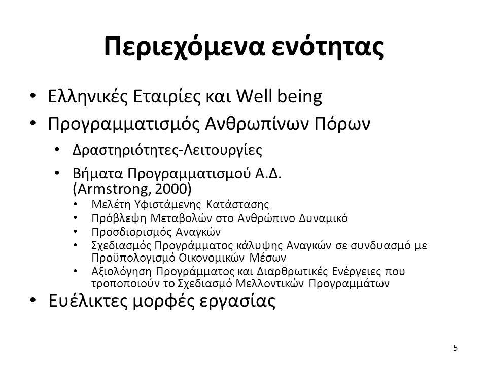Περιεχόμενα ενότητας Ελληνικές Εταιρίες και Well being Προγραμματισμός Ανθρωπίνων Πόρων Δραστηριότητες-Λειτουργίες Βήματα Προγραμματισμού Α.Δ. (Armstr
