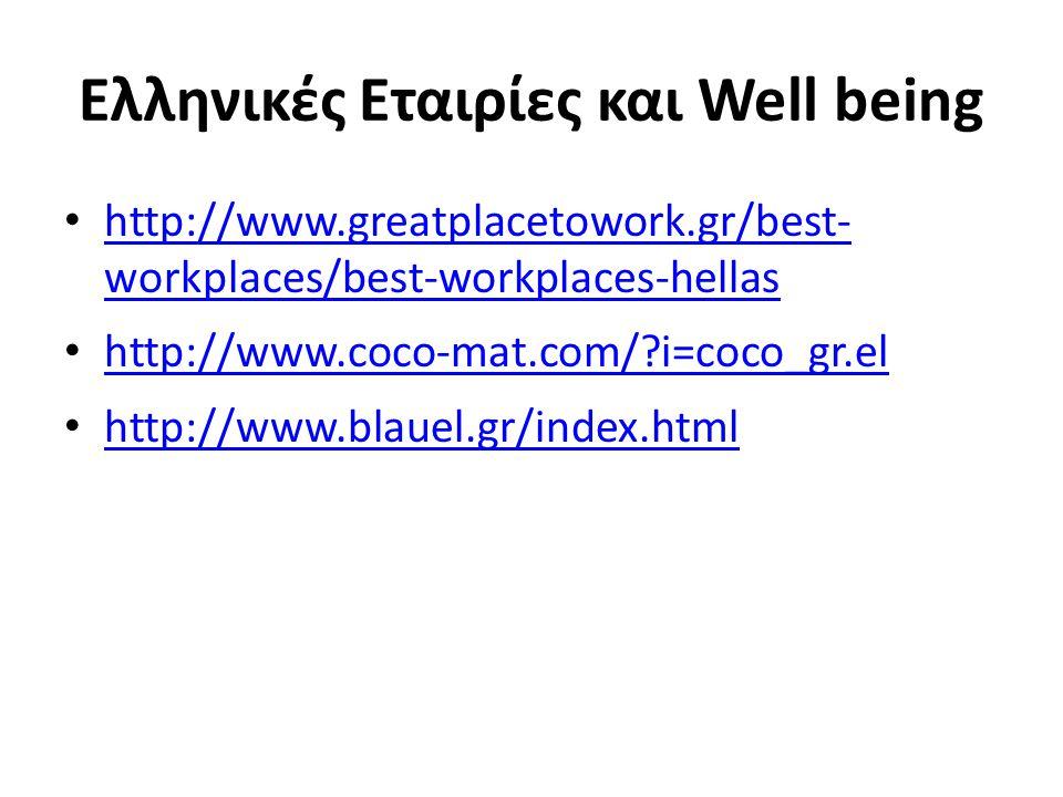 Ελληνικές Εταιρίες και Well being http://www.greatplacetowork.gr/best- workplaces/best-workplaces-hellas http://www.greatplacetowork.gr/best- workplac