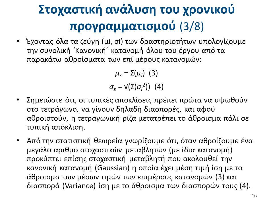 Στοχαστική ανάλυση του χρονικού προγραμματισμού (3/8) Έχοντας όλα τα ζεύγη (μi, σi) των δραστηριοτήτων υπολογίζουμε την συνολική 'Κανονική' κατανομή όλου του έργου από τα παρακάτω αθροίσματα των επί μέρους κατανομών: μ ε = Σ(μ i ) (3) σ ε = √(Σ(σ i 2 )) (4) Σημειώστε ότι, οι τυπικές αποκλίσεις πρέπει πρώτα να υψωθούν στο τετράγωνο, να γίνουν δηλαδή διασπορές, και αφού αθροιστούν, η τετραγωνική ρίζα μετατρέπει το άθροισμα πάλι σε τυπική απόκλιση.