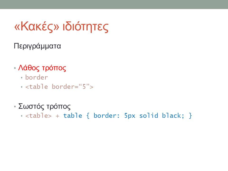 «Κακές» ιδιότητες Περιγράμματα Λάθος τρόπος border Σωστός τρόπος + table { border: 5px solid black; }