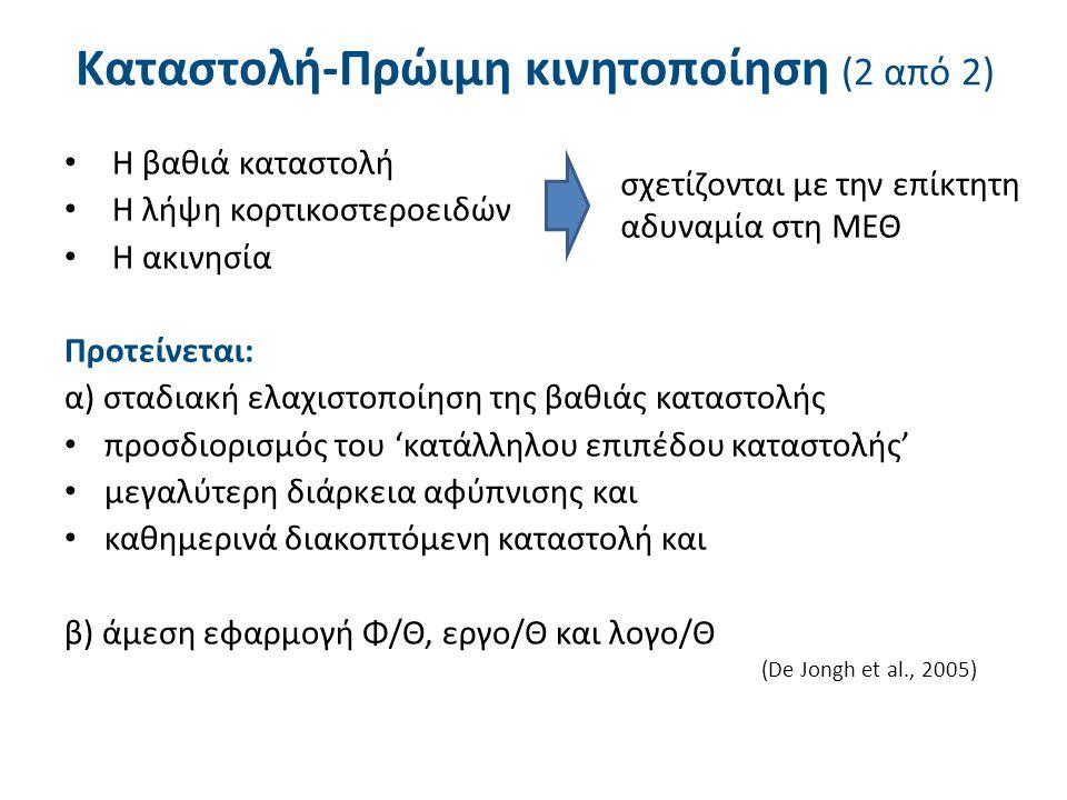 Η βαθιά καταστολή Η λήψη κορτικοστεροειδών Η ακινησία Προτείνεται: α) σταδιακή ελαχιστοποίηση της βαθιάς καταστολής προσδιορισμός του 'κατάλληλου επιπέδου καταστολής' μεγαλύτερη διάρκεια αφύπνισης και καθημερινά διακοπτόμενη καταστολή και β) άμεση εφαρμογή Φ/Θ, εργο/Θ και λογο/Θ (De Jongh et al., 2005) Καταστολή-Πρώιμη κινητοποίηση (2 από 2) σχετίζονται με την επίκτητη αδυναμία στη ΜΕΘ