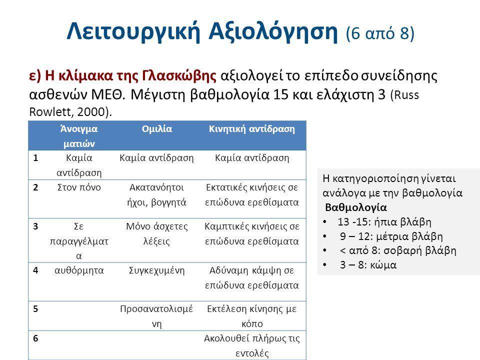 Λειτουργική Αξιολόγηση (6 από 8) ε) Η κλίμακα της Γλασκώβης αξιολογεί το επίπεδο συνείδησης ασθενών ΜΕΘ.