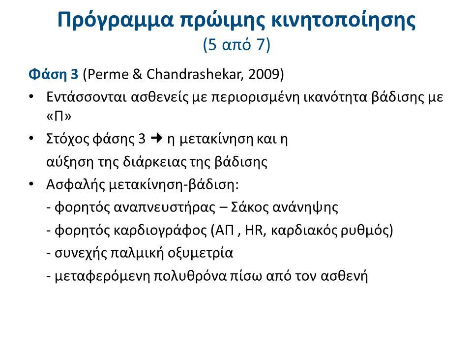 Πρόγραμμα πρώιμης κινητοποίησης (5 από 7) Φάση 3 (Perme & Chandrashekar, 2009) Εντάσσονται ασθενείς με περιορισμένη ικανότητα βάδισης με «Π» Στόχος φάσης 3 η μετακίνηση και η αύξηση της διάρκειας της βάδισης Ασφαλής μετακίνηση-βάδιση: - φορητός αναπνευστήρας – Σάκος ανάνηψης - φορητός καρδιογράφος (ΑΠ, HR, καρδιακός ρυθμός) - συνεχής παλμική οξυμετρία - μεταφερόμενη πολυθρόνα πίσω από τον ασθενή