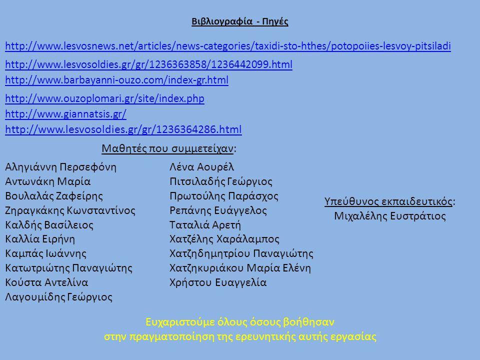 Βιβλιογραφία - Πηγές http://www.lesvosnews.net/articles/news-categories/taxidi-sto-hthes/potopoiies-lesvoy-pitsiladi http://www.lesvosoldies.gr/gr/1236363858/1236442099.html http://www.barbayanni-ouzo.com/index-gr.html http://www.ouzoplomari.gr/site/index.php http://www.giannatsis.gr/ http://www.lesvosoldies.gr/gr/1236364286.html Αληγιάννη Περσεφόνη Αντωνάκη Μαρία Βουλαλάς Ζαφείρης Ζηραγκάκης Κωνσταντίνος Καλδής Βασίλειος Καλλία Ειρήνη Καμπάς Ιωάννης Κατωτριώτης Παναγιώτης Κούστα Αντελίνα Λαγουμίδης Γεώργιος Λένα Αουρέλ Πιτσιλαδής Γεώργιος Πρωτούλης Παράσχος Ρεπάνης Ευάγγελος Ταταλιά Αρετή Χατζέλης Χαράλαμπος Χατζηδημητρίου Παναγιώτης Χατζηκυριάκου Μαρία Ελένη Χρήστου Ευαγγελία Μαθητές που συμμετείχαν: Υπεύθυνος εκπαιδευτικός: Μιχαλέλης Ευστράτιος Ευχαριστούμε όλους όσους βοήθησαν στην πραγματοποίηση της ερευνητικής αυτής εργασίας