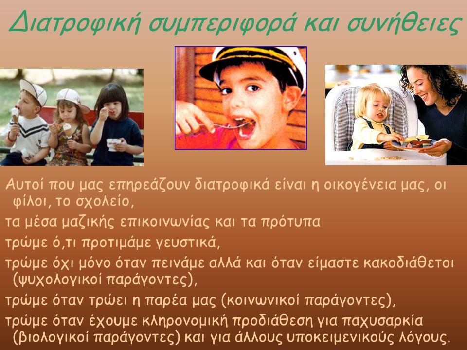 Διατροφική συμπεριφορά και συνήθειες Αυτοί που μας επηρεάζουν διατροφικά είναι η οικογένεια μας, οι φίλοι, το σχολείο, τα μέσα μαζικής επικοινωνίας και τα πρότυπα τρώμε ό,τι προτιμάμε γευστικά, τρώμε όχι μόνο όταν πεινάμε αλλά και όταν είμαστε κακοδιάθετοι (ψυχολογικοί παράγοντες), τρώμε όταν τρώει η παρέα μας (κοινωνικοί παράγοντες), τρώμε όταν έχουμε κληρονομική προδιάθεση για παχυσαρκία (βιολογικοί παράγοντες) και για άλλους υποκειμενικούς λόγους.