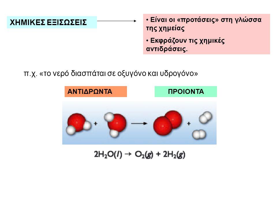 ΧΗΜΙΚΕΣ ΕΞΙΣΩΣΕΙΣ Είναι οι «προτάσεις» στη γλώσσα της χημείας Εκφράζουν τις χημικές αντιδράσεις. π.χ. «το νερό διασπάται σε οξυγόνο και υδρογόνο» ΑΝΤΙ