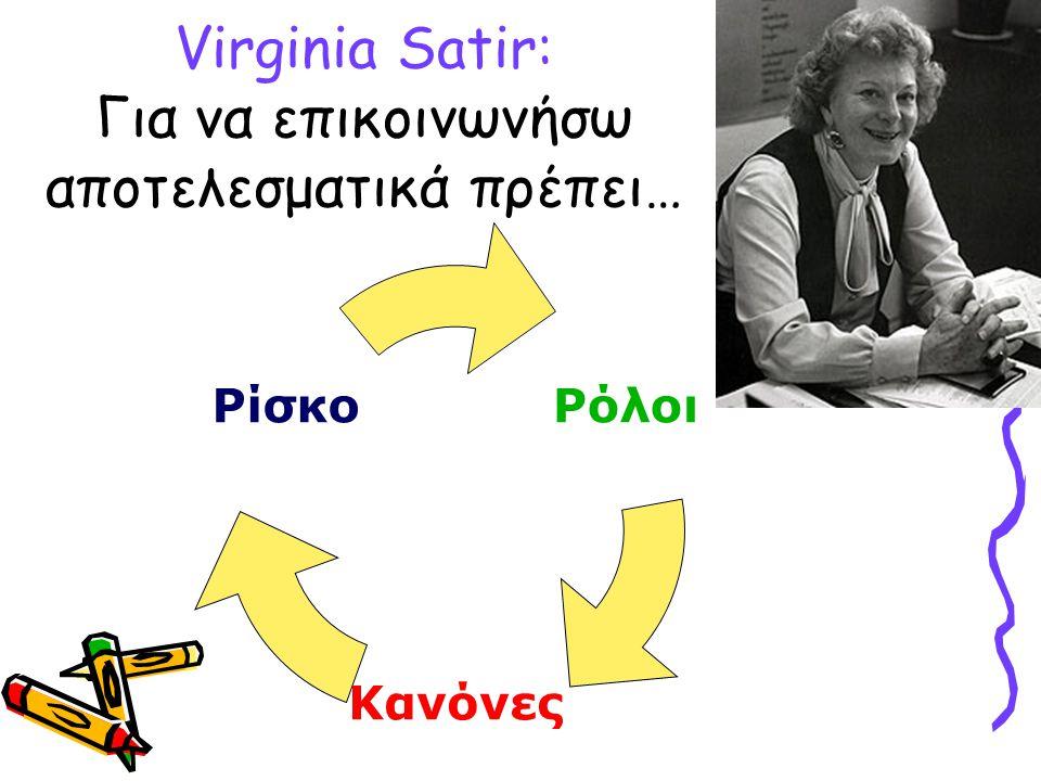 Virginia Satir: Για να επικοινωνήσω αποτελεσματικά πρέπει… Ρόλοι Κανόνες Ρίσκο