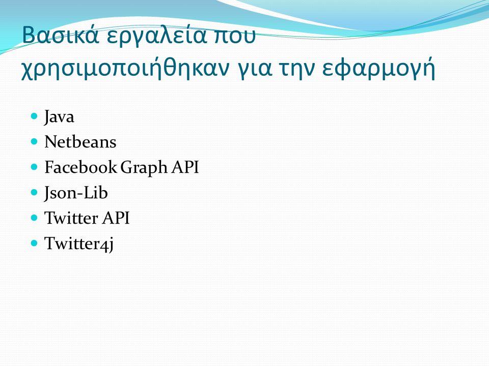 Βασικά εργαλεία που χρησιμοποιήθηκαν για την εφαρμογή Java Netbeans Facebook Graph API Json-Lib Twitter API Τwitter4j