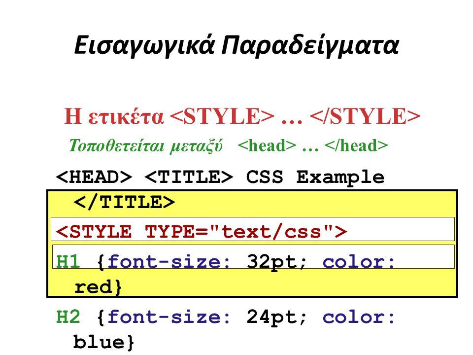 Εισαγωγικά Παραδείγματα CSS Example H1 {font-size: 32pt; color: red} H2 {font-size: 24pt; color: blue} Η ετικέτα … Τοποθετείται μεταξύ …