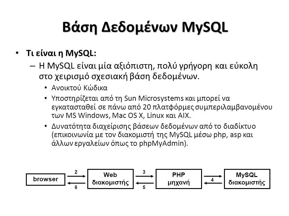 Βάση Δεδομένων MySQL Τι είναι η MySQL: – Η MySQL είναι μία αξιόπιστη, πολύ γρήγορη και εύκολη στο χειρισμό σχεσιακή βάση δεδομένων.