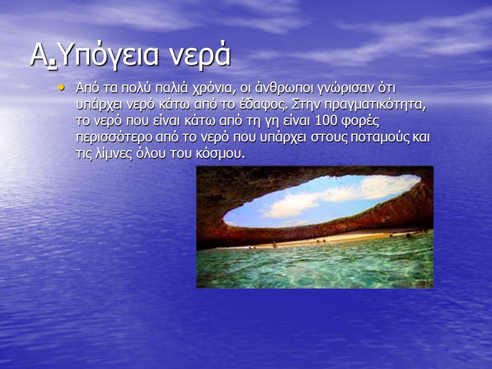 Α.Υπόγεια νερά Από τα πολύ παλιά χρόνια, οι άνθρωποι γνώρισαν ότι υπάρχει νερό κάτω από το έδαφος.