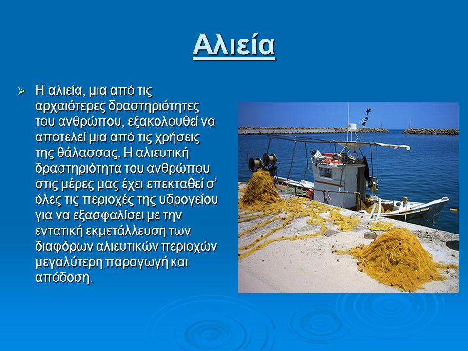Αλιεία  Η αλιεία, μια από τις αρχαιότερες δραστηριότητες του ανθρώπου, εξακολουθεί να αποτελεί μια από τις χρήσεις της θάλασσας.