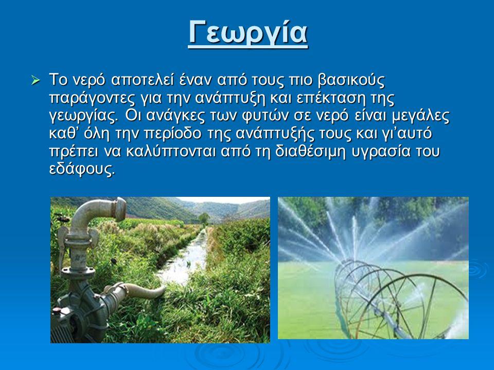 Γεωργία  Το νερό αποτελεί έναν από τους πιο βασικούς παράγοντες για την ανάπτυξη και επέκταση της γεωργίας.