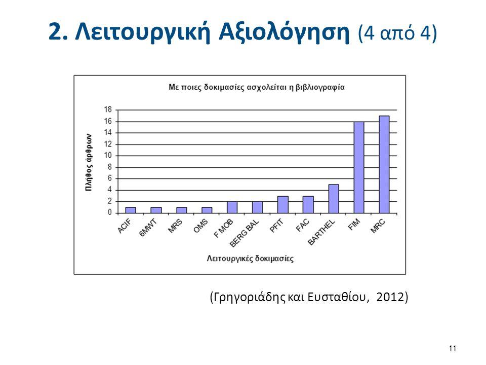 2. Λειτουργική Αξιολόγηση (4 από 4) (Γρηγοριάδης και Ευσταθίου, 2012) 11