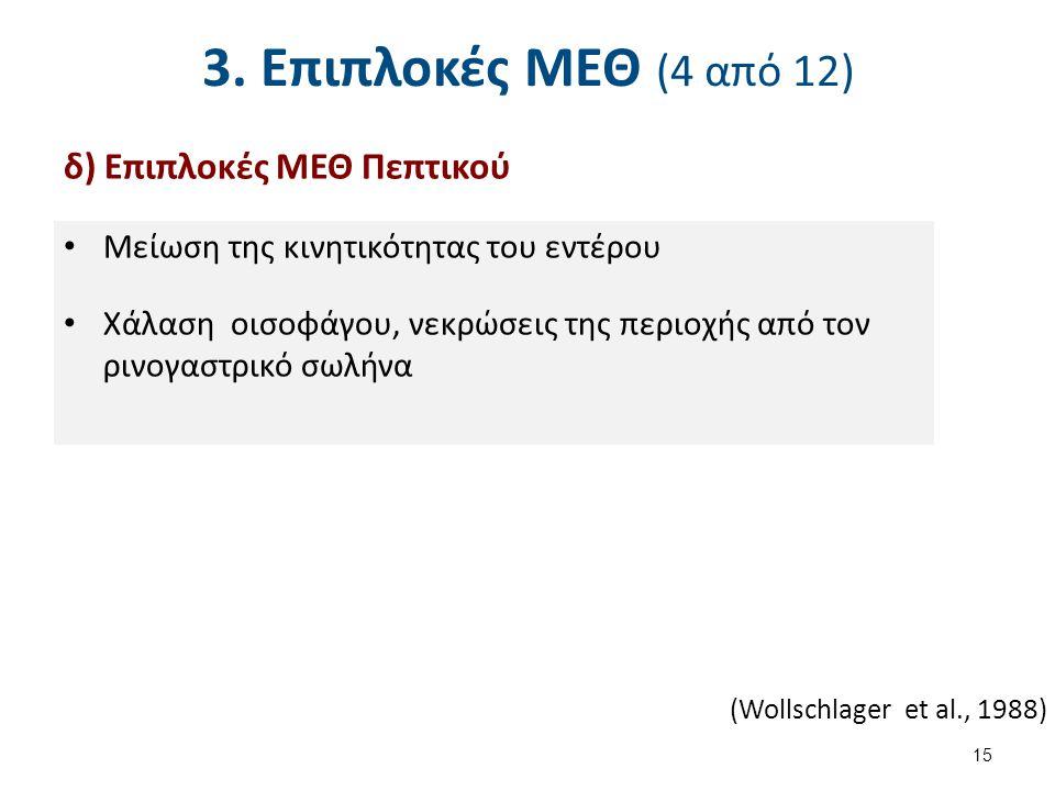 3. Επιπλοκές ΜΕΘ (4 από 12) δ) Επιπλοκές ΜΕΘ Πεπτικού Μείωση της κινητικότητας του εντέρου Χάλαση οισοφάγου, νεκρώσεις της περιοχής από τον ρινογαστρι