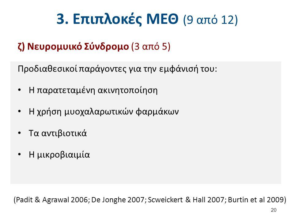 3. Επιπλοκές ΜΕΘ (9 από 12) ζ) Νευρομυικό Σύνδρομο (3 από 5) Προδιαθεσικοί παράγοντες για την εμφάνισή του: Η παρατεταμένη ακινητοποίηση Η χρήση μυοχα