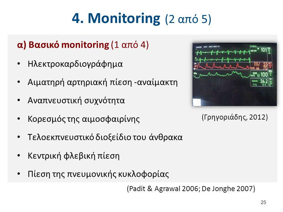4. Monitoring (2 από 5) α) Βασικό monitoring (1 από 4) Ηλεκτροκαρδιογράφημα Αιματηρή αρτηριακή πίεση -αναίμακτη Αναπνευστική συχνότητα Κορεσμός της αι