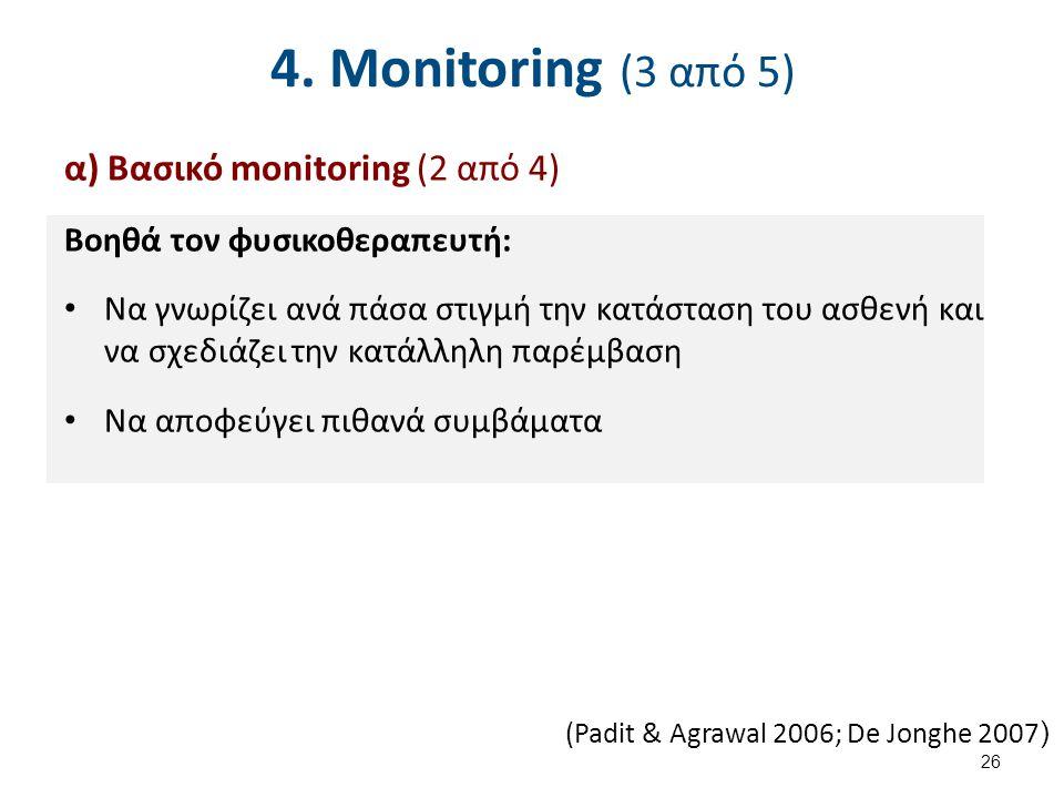 4. Monitoring (3 από 5) α) Βασικό monitoring (2 από 4) Βοηθά τον φυσικοθεραπευτή: Να γνωρίζει ανά πάσα στιγμή την κατάσταση του ασθενή και να σχεδιάζε