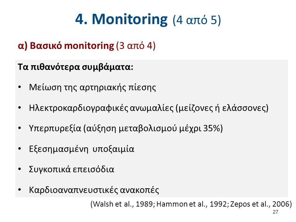 4. Monitoring (4 από 5) α) Βασικό monitoring (3 από 4) Τα πιθανότερα συμβάματα: Μείωση της αρτηριακής πίεσης Ηλεκτροκαρδιογραφικές ανωμαλίες (μείζονες