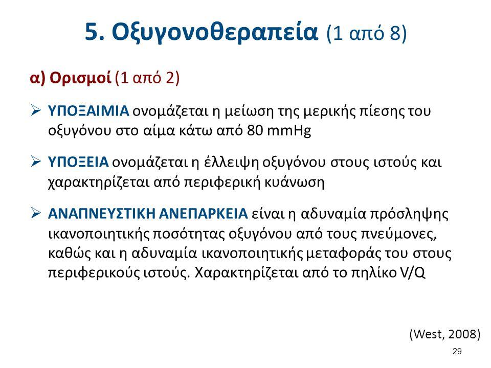 5. Οξυγονοθεραπεία (1 από 8) α) Ορισμοί (1 από 2)  ΥΠΟΞΑΙΜΙΑ ονομάζεται η μείωση της μερικής πίεσης του οξυγόνου στο αίμα κάτω από 80 mmHg  ΥΠΟΞΕΙΑ