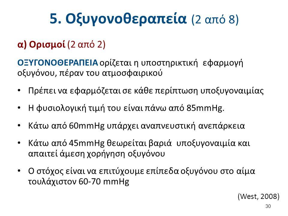 5. Οξυγονοθεραπεία (2 από 8) α) Ορισμοί (2 από 2) ΟΞΥΓΟΝΟΘΕΡΑΠΕΙΑ ορίζεται η υποστηρικτική εφαρμογή οξυγόνου, πέραν του ατμοσφαιρικού Πρέπει να εφαρμό