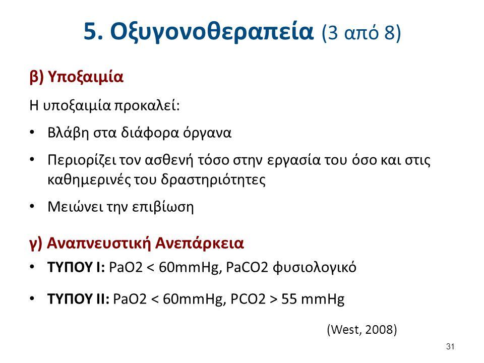5. Οξυγονοθεραπεία (3 από 8) β) Υποξαιμία Η υποξαιμία προκαλεί: Βλάβη στα διάφορα όργανα Περιορίζει τον ασθενή τόσο στην εργασία του όσο και στις καθη