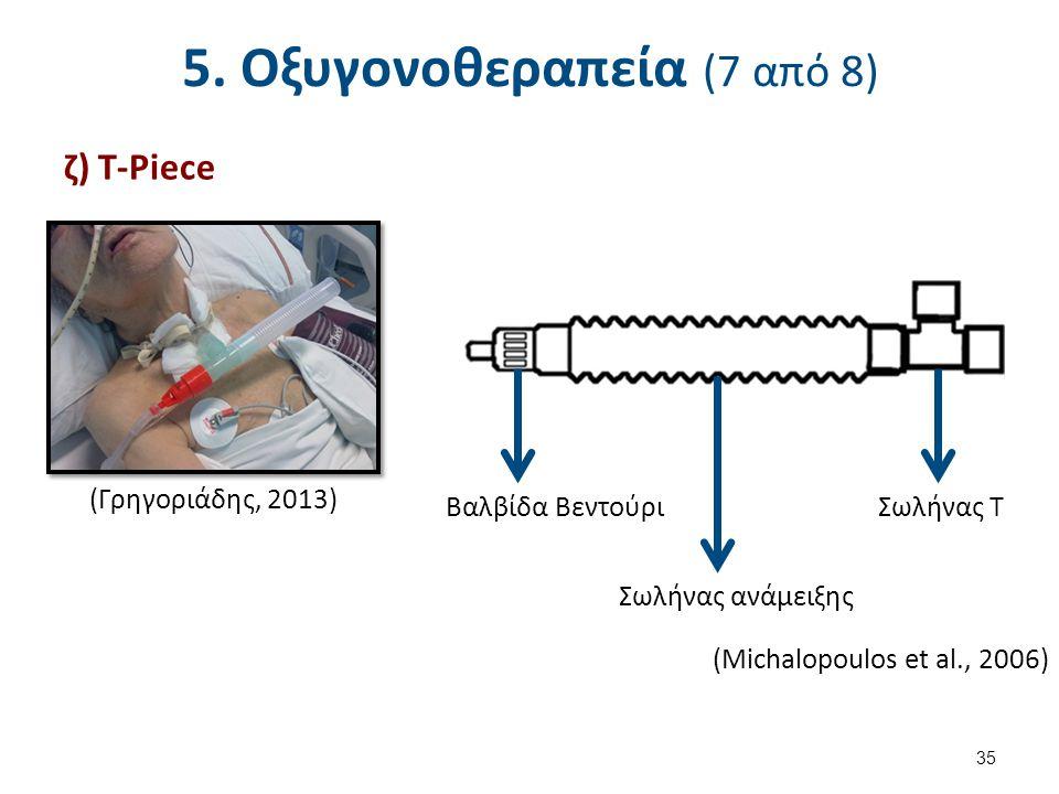5. Οξυγονοθεραπεία (7 από 8) ζ) T-Piece (Γρηγοριάδης, 2013) Βαλβίδα Βεντούρι Σωλήνας ανάμειξης Σωλήνας Τ (Michalopoulos et al., 2006) 35