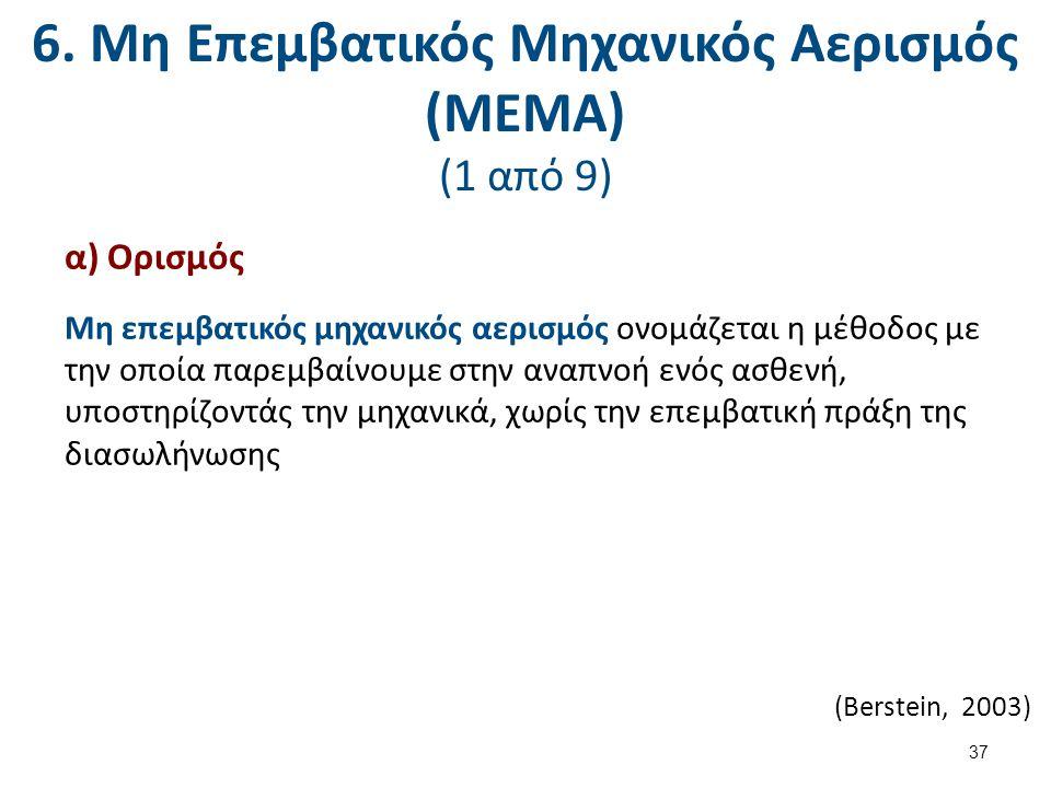 6. Μη Επεμβατικός Μηχανικός Αερισμός (ΜΕΜΑ) (1 από 9) α) Ορισμός Μη επεμβατικός μηχανικός αερισμός ονομάζεται η μέθοδος με την οποία παρεμβαίνουμε στη
