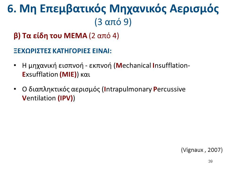 6. Μη Επεμβατικός Μηχανικός Αερισμός (3 από 9) β) Τα είδη του ΜΕΜΑ (2 από 4) ΞΕΧΩΡΙΣΤΕΣ ΚΑΤΗΓΟΡΙΕΣ ΕΙΝΑΙ: Η μηχανική εισπνοή - εκπνοή (Mechanical Insu