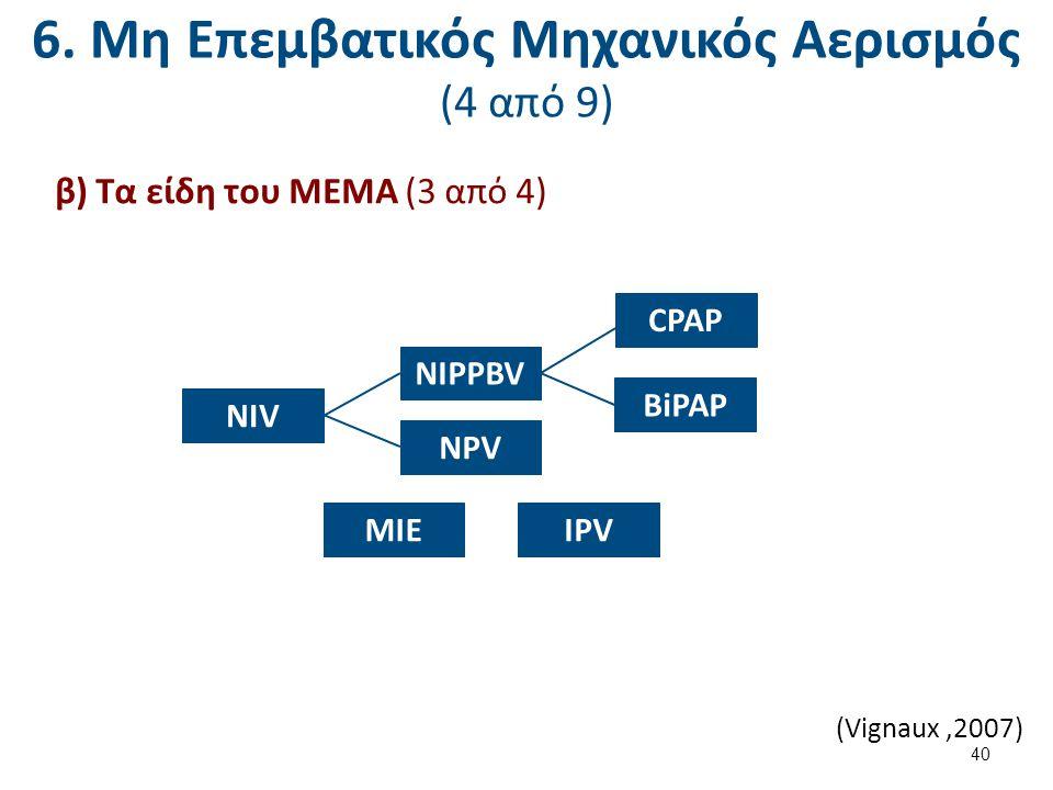 6. Μη Επεμβατικός Μηχανικός Αερισμός (4 από 9) β) Τα είδη του ΜΕΜΑ (3 από 4) NIV NIPPBV CPAP BiPAP NPV MIEIPV (Vignaux,2007) 40