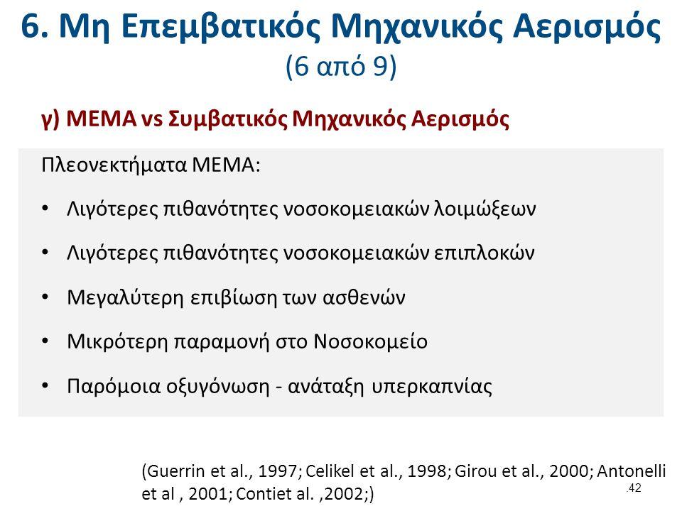 6. Μη Επεμβατικός Μηχανικός Αερισμός (6 από 9) γ) ΜΕΜΑ vs Συμβατικός Μηχανικός Αερισμός Πλεονεκτήματα ΜΕΜΑ: Λιγότερες πιθανότητες νοσοκομειακών λοιμώξ