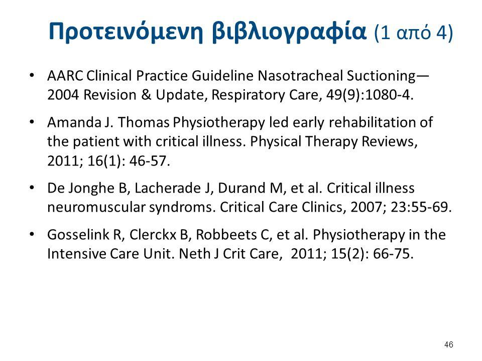 Προτεινόμενη βιβλιογραφία (1 από 4) AARC Clinical Practice Guideline Nasotracheal Suctioning— 2004 Revision & Update, Respiratory Care, 49(9):1080-4.