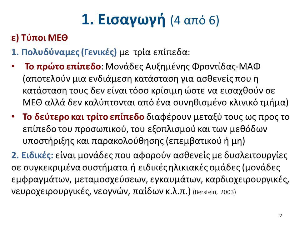 1. Εισαγωγή (4 από 6) ε) Τύποι ΜΕΘ 1. Πολυδύναμες (Γενικές) με τρία επίπεδα: Το πρώτο επίπεδο: Μονάδες Αυξημένης Φροντίδας-ΜΑΦ (αποτελούν μια ενδιάμεσ