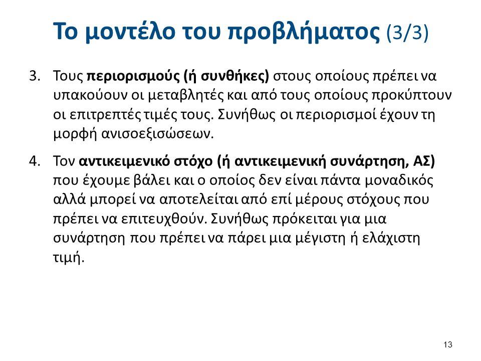 Το μοντέλο του προβλήματος (3/3) 3.Τους περιορισμούς (ή συνθήκες) στους οποίους πρέπει να υπακούουν οι μεταβλητές και από τους οποίους προκύπτουν οι ε