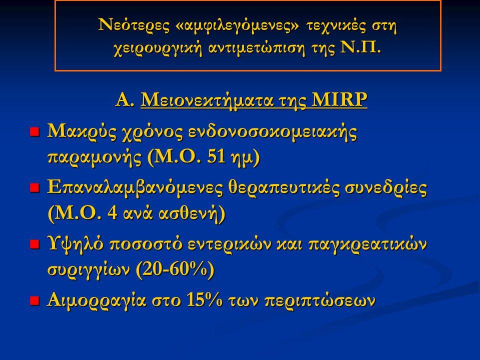 Α. Μειονεκτήματα της MIRP Μακρύς χρόνος ενδονοσοκομειακής παραμονής (Μ.Ο. 51 ημ) Μακρύς χρόνος ενδονοσοκομειακής παραμονής (Μ.Ο. 51 ημ) Επαναλαμβανόμε