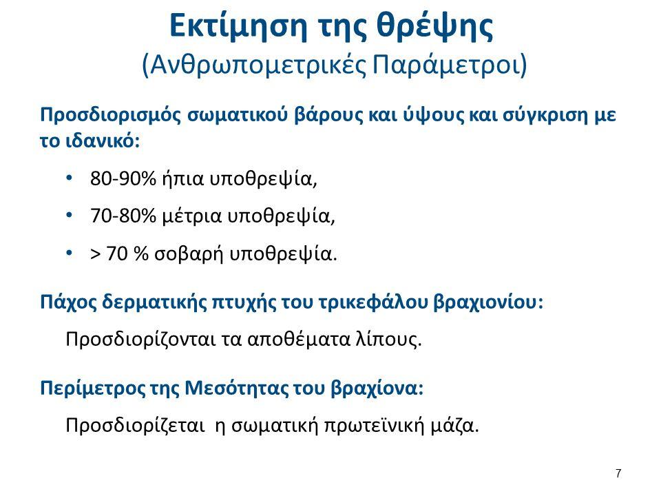 Εκτίμηση της θρέψης (Ανθρωπομετρικές Παράμετροι) Προσδιορισμός σωματικού βάρους και ύψους και σύγκριση με το ιδανικό: 80-90% ήπια υποθρεψία, 70-80% μέ