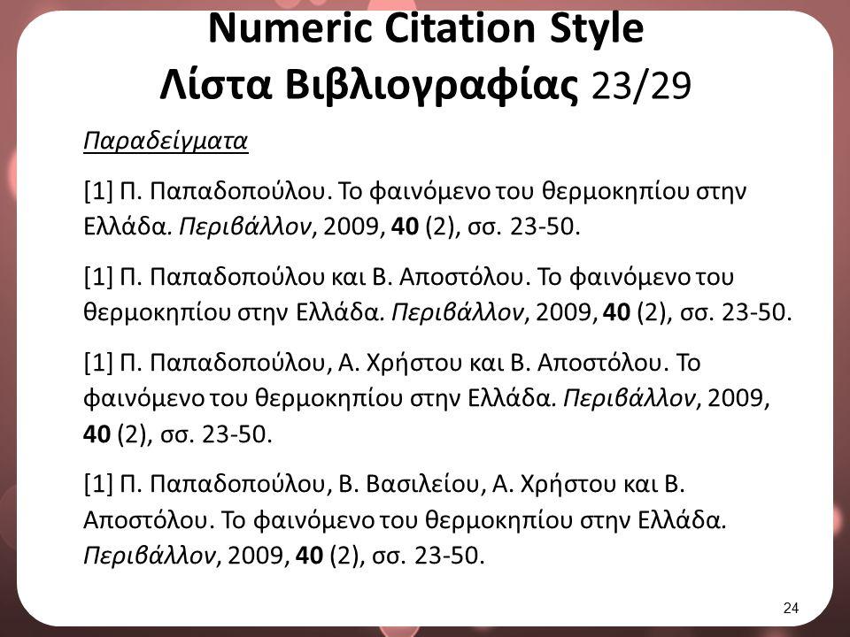 Numeric Citation Style Λίστα Βιβλιογραφίας 23/29 Παραδείγματα [1] Π. Παπαδοπούλου. Το φαινόμενο του θερμοκηπίου στην Ελλάδα. Περιβάλλον, 2009, 40 (2),