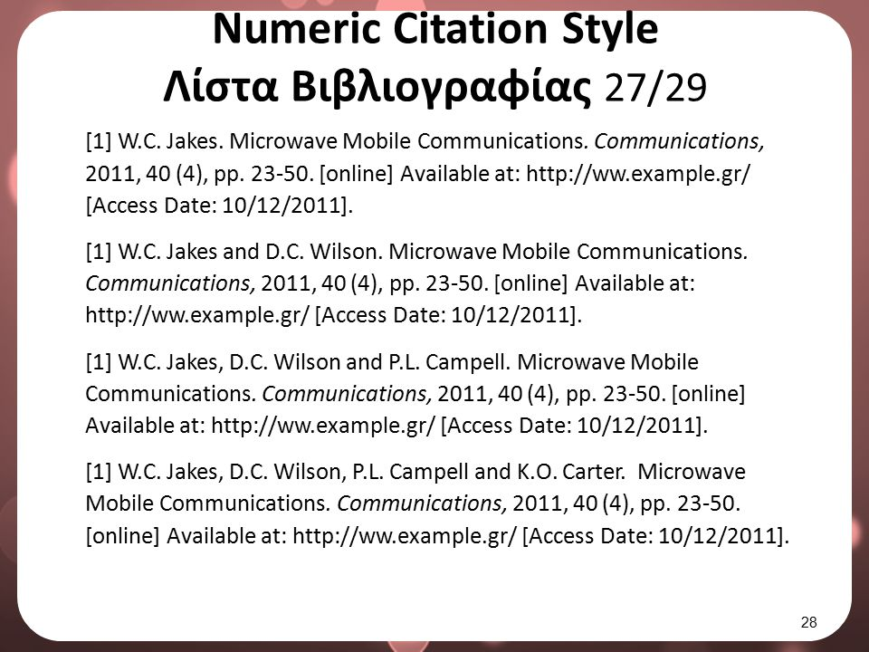 Numeric Citation Style Λίστα Βιβλιογραφίας 27/29 [1] W.C. Jakes. Microwave Mobile Communications. Communications, 2011, 40 (4), pp. 23-50. [online] Av